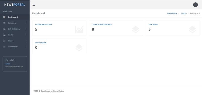 news portal admin dashboard