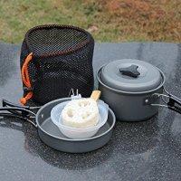 Ohuhu 8pcs Lightweight Outdoor Camping Hiking Cookware Backpacking Cooking Picnic Bowl Pot Pan Set