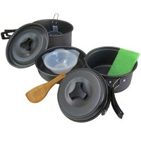 ★★FREE BONUS GIFT★★ Rough It ★ 10-Piece Camping Cookware Set ★Stackable, Light-Weight, and Non-Stick Outdoor Cooking Set Ideal for Hiking or Backpacking. Includes Frying Pan, 2 Camping Pots, 3 Bowls, Mesh Carrying Case, and Cooking and Cleaning Accessories