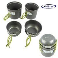 G4Free Outdoor Camping pan Hiking Cookware Backpacking Cooking Picnic Bowl Pot Pan Set