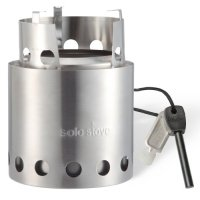 Original Solo Stove w/ Swedish Army Firesteel: Ultra Light Weight Woodgas Backpacking Stove, Emergency Survival Stove, Wood Burning Camping Stove, Boy Scout Stove