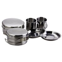 BeGrit Backpacking Camping Cookware Picnic Cooking Cook Set for Hiking (8pcs/set, 410 Stainless Steel)