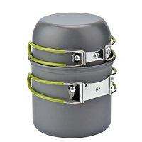 Camping Equipment, Wuudi Outdoor Camping Pots And Pans Set 2PCS Camping Cookware