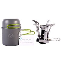 GkGk Camping Stove + Camping Pot ,Outdoor Picnic Cooking Sets Backpacking Cookware:Hiking Pot Pan + Canister Stove for Piezo Ignition Canister System Propane