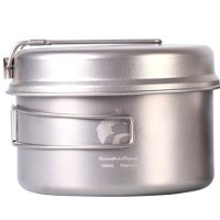 Boundless Voyage 1000ml Ultralight Titanium Pot set Quality Healthy Camping Pot With Titanium Pan 202g