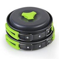 Gearupz Camping Cookware 10Pcs Mess Kit Cooking Equipment Camp Cookset Backpacking Gear & Hiking Outdoors Bug Out Bag | Lightweight, Compact, & Durable Pot Pan Bowls - Free Folding Spork, Nylon Bag