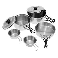 Docooler Outdoor Camping Hiking Cookware Backpacking Cooking Picnic Bowl Pot Pan Set Stainless Steel Cook Set