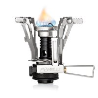 Foxelli Camping Stove with Piezo Ignition System - Lightweight, Portable, Collapsible, Best Camp Stove Burner for Outdoors, Backpacking, Survival, Compatible with most Butane Propane Gas Canisters