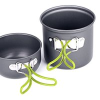 2pcs Portable Cookware Outdoor Cookware Backpacking Cooking Kit Bowl Pot Pan for Camping Hiking Travel Picnic with Carrying Bag