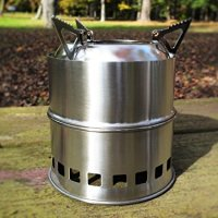 SoLoMan Wood Stove Lite Portable Stainless Steel Lightweight Stove with Solid Alcohol tray Camping, Backpacking, Hiking, Picnic and Emergency Survival Preparation kit