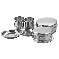 CHANODUG Backpacking Camping Stainless Steel Cookware Picnic Camp Cooking Cook Set for Hiking (8pcs/set, 410 Stainless Steel)