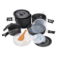 Hisea 18pcs Outdoor Cookware Set Portable Camping Backpacking Cooking Pan Pots Mess Kit suits for 4-5 persons Travel Camping Hiking Trekking( A Gas Stove optional )