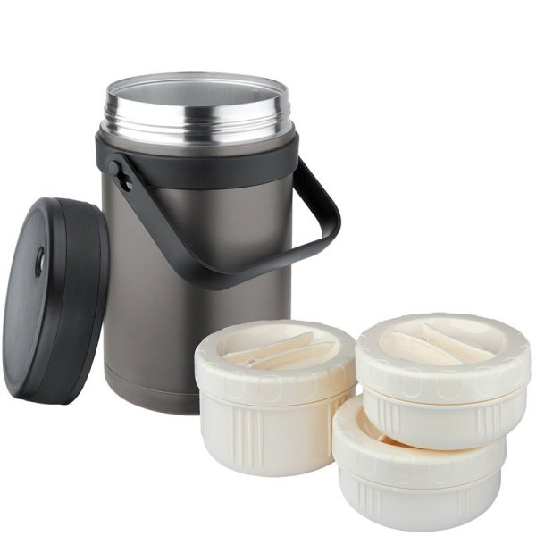 Isosteel 1.5L Insulated Food Container Titanium