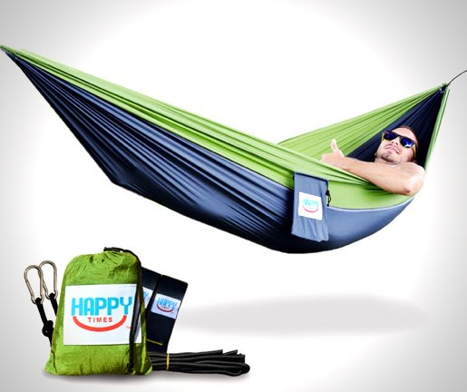 SINGLE & DOUBLE PARACHUTE HAMMOCK WITH TREE STRAPS or without tree straps Happy Times