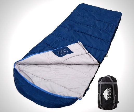 All Season XL Hooded Sleeping Bag with Compression Sack - Perfect for Camping
