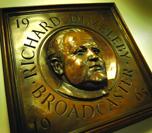 The plaque in the BBC London headquarters, commemorating Richard Dimbleby, in whose name the Dimbleby Cancer Trust was founded by his children