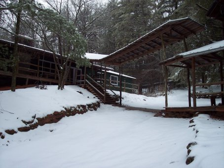 Camp Dixie Dining Hall in the Snow