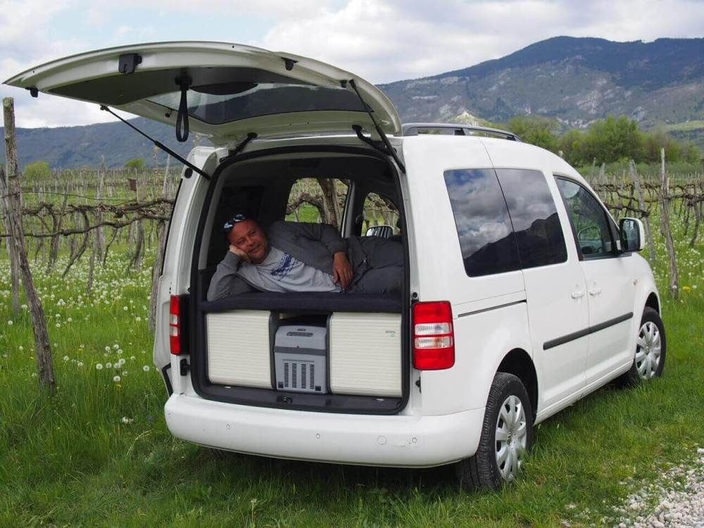 medium resolution of volkswagen caddy small camper van conversion with a neat camping box