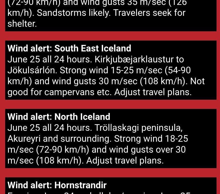 Safetravel in Iceland – wind alert – drive carefully