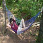XGTsg Camping Camping Se Lit en Plein Air Se Lit La Corde De Nylon Produits Réseau Unique Indéchirables Portatifs,Blue,260 * 80 Cm