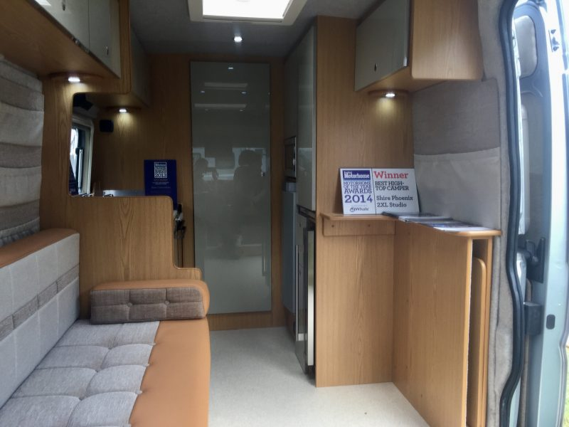 End washroom and galley kitchen in this motorhome