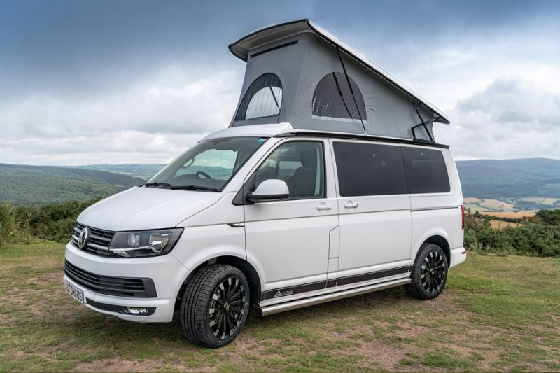 Campervan by Volswagen with a pop top roof