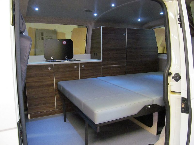 campervan - small - interior with rock and roll bed