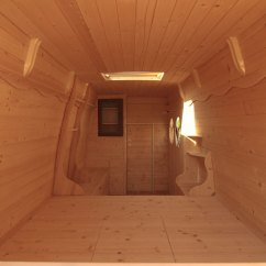 How To Design A Tiny Living Room Small Ideas With Tv Over Fireplace Man Turns Work Van Into Diy Motorhome Cabin ...