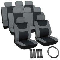 OxGord Flat Cloth Seat Cover Set for Toyota Mini Passenger Vans, Airbag Compatible, Split Bench, Gray & Black