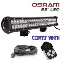 """TURBO SII Osram 23"""" Inch Led Light Bar 144w Flood And Spot Combo Beam Work Light for Van Camper Wagon Pickup ATV UTE SUV Boat 4x4 Jeep Offroad + Wiring Harness Kit + Remote Control Wiring Kit"""