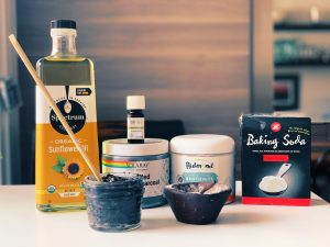 DIY toothpaste with baking soda, activated charcoal, Bentonite clay, coconut oil and organic sunflower oil