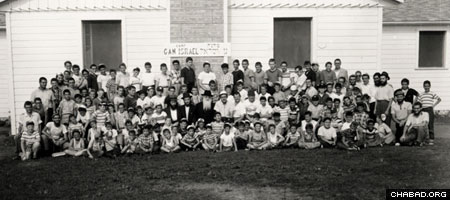 Campers at the original Camp Gan Israel in upstate New York pose for a group picture in 1958
