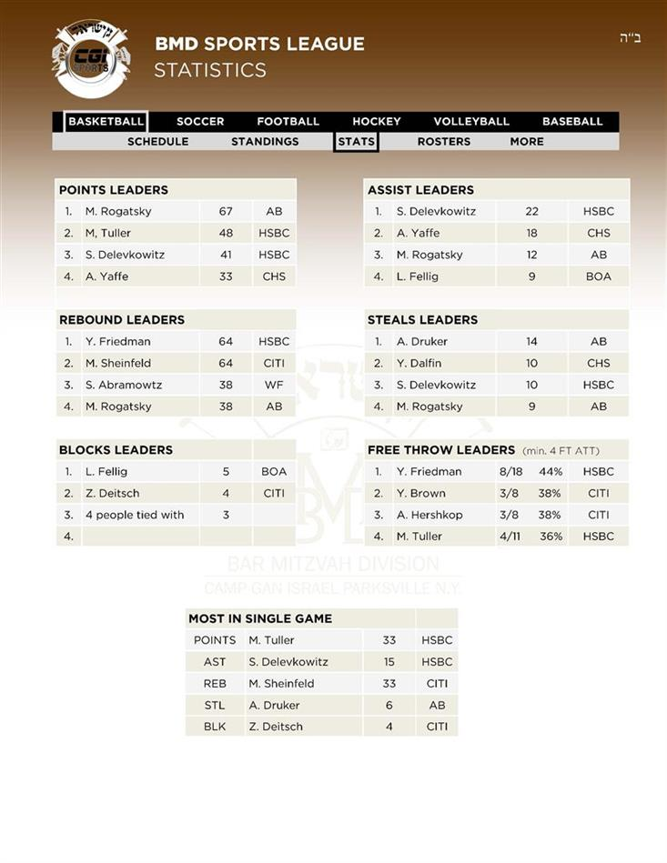 11Leaders Basketball Stats 28 AV