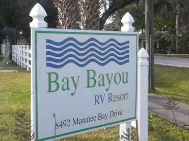 Bay Bayou RV Resort in Tampa Florida Sign
