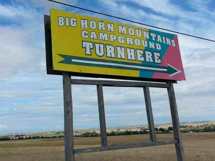 Big Horn Mountain Campground in Buffalo Wyoming Sign