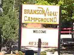 Branson View Campground in Branson Missouri Sign