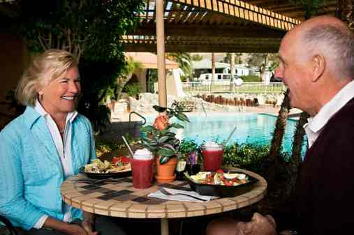 Caliente Springs RV Resort in Desert Hot Springs California Dining by Pool