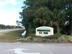 International RV Park and Campground in Daytona Beach Florida Sign