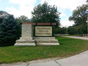 McIntosh Woods State Park in Ventura Iowa Sign