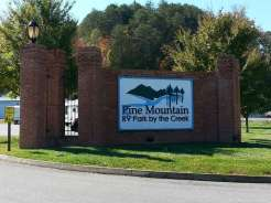 Pine Mountain RV Park by the River in Pigeon Forge Tennessee sign