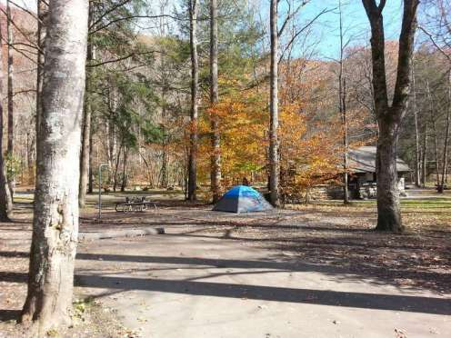 Smokemont Campground in Great Smoky Mountains National Park near Cherokee North Carolina Tent Site