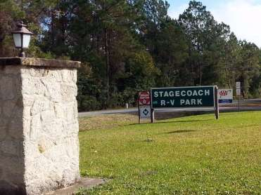 Stagecoach RV Park in St Augustine Florida Sign