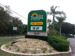 Tampa East RV Park in Dover Florida Sign