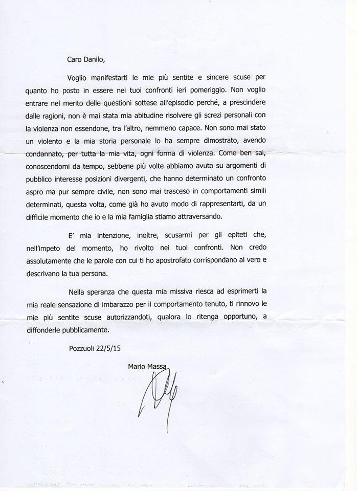 La lettera di Mario Massa
