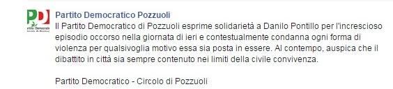 La nota stampa diffusa dal PD di Pozzuoli