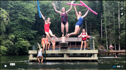 Synchronized Swimmers Begin their routine with a trio jumping off the diving board.