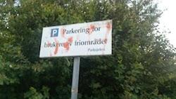 Parkering ved friområde i Stavanger