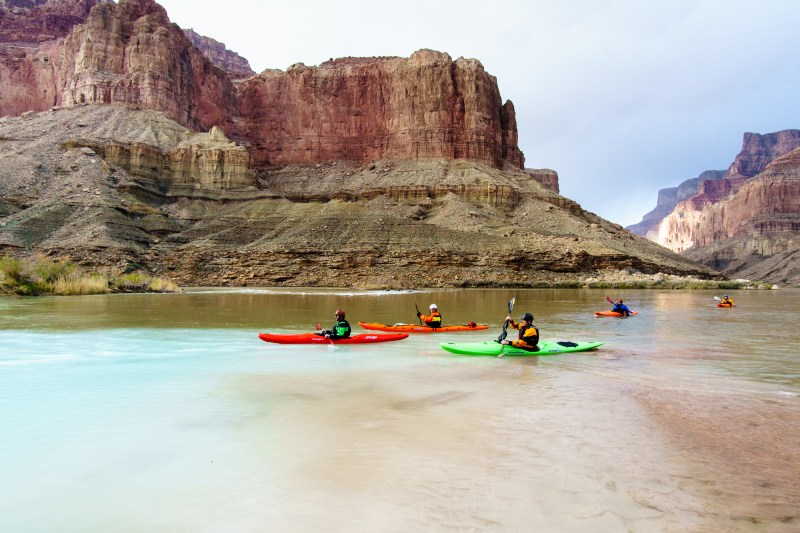 Floating past the confluence of the Little Colorado River and the Colorado on a 2016 self-support kayak trip through the Grand Canyon.