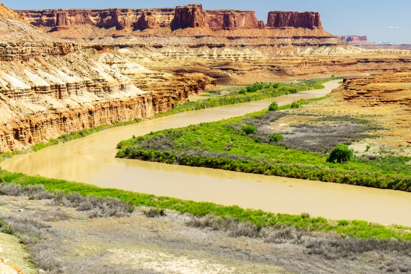 A group of paddlers paddle past on their way from Mineral Bottom to the confluence of the Green and Colorado rivers.