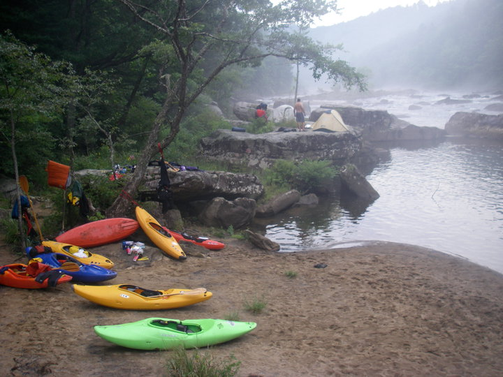 Camping near the confluence of the Meadow and the Gauley Rivers in West Virginia.